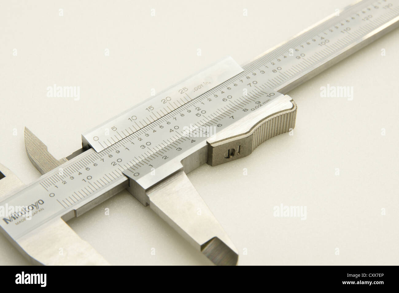 Closeup of the scales on a Mitutoyo vernier caliper - Stock Image