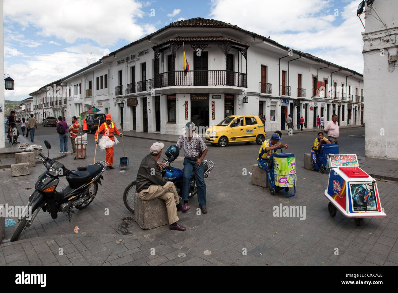 Crossroad in central historic center Popayan Colombia - Stock Image