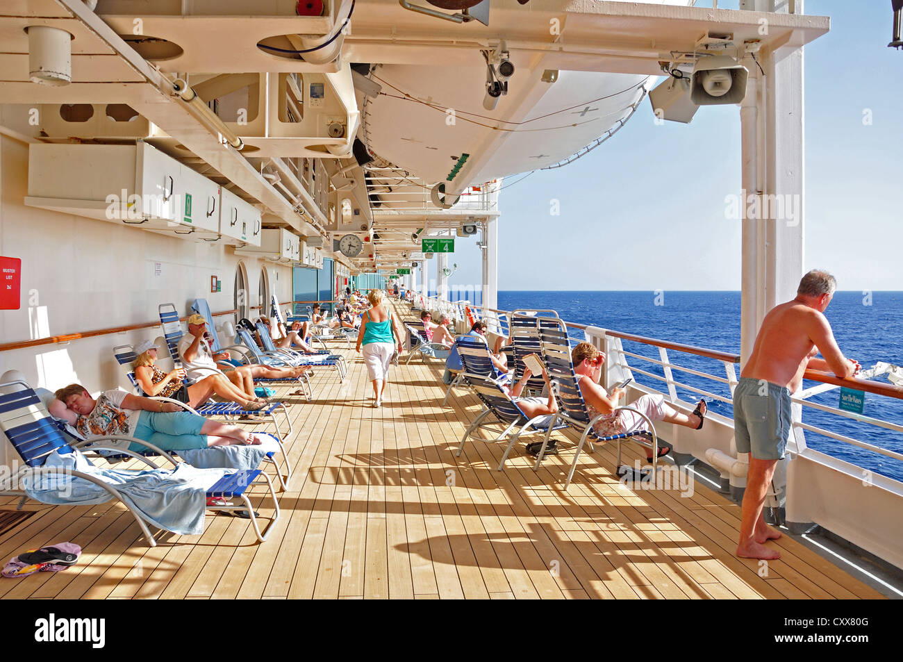 Passengers Relaxing In Sun On Deck Of Royal Caribbean Grandeur The Seas Cruise Ship Adriatic Sea Mediterranean Europe