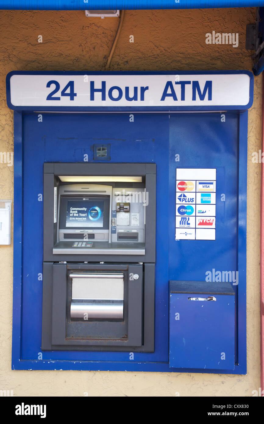 24 hour cash machine atm banking miami south beach florida usa - Stock Image
