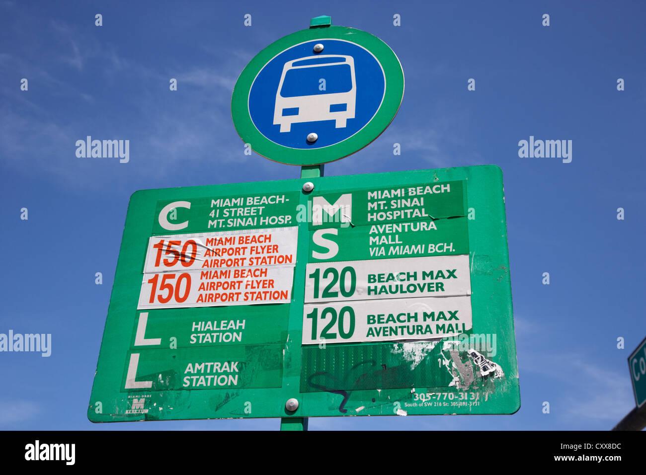 miami-dade public bus transport stop miami south beach florida usa - Stock Image
