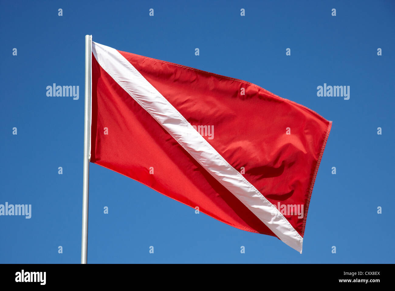red and white diver down flag - Stock Image