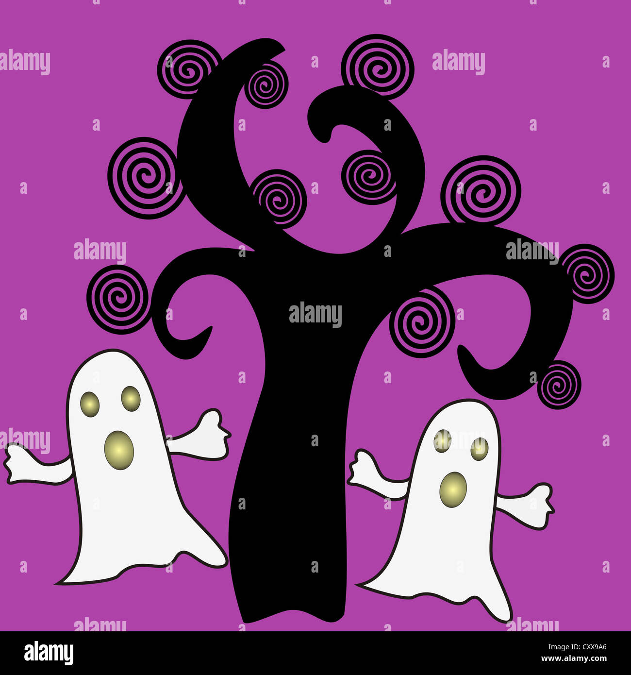 Black tree with ghosts design Stock Photo