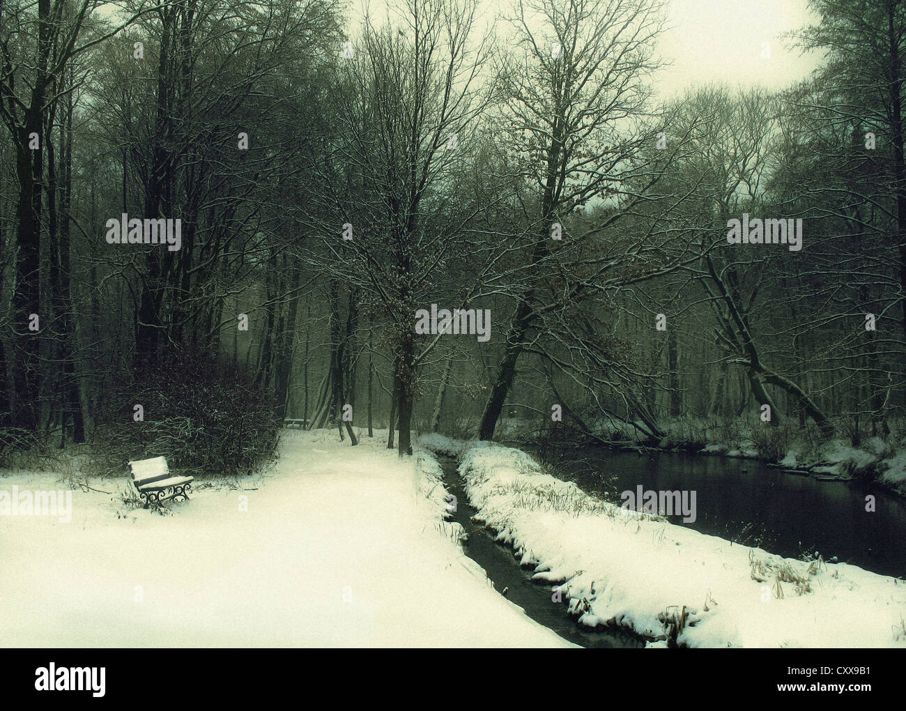 A landscape with a wood or garden in winter, a little bench on the left, covered with snow, and a river bank on - Stock Image
