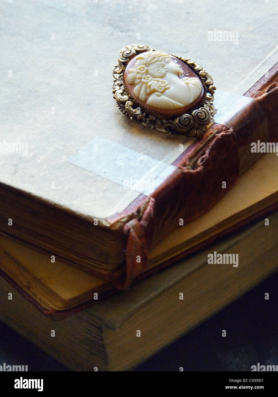 An old cameo brooch in a golden frame, laid on vintage books. - Stock Image