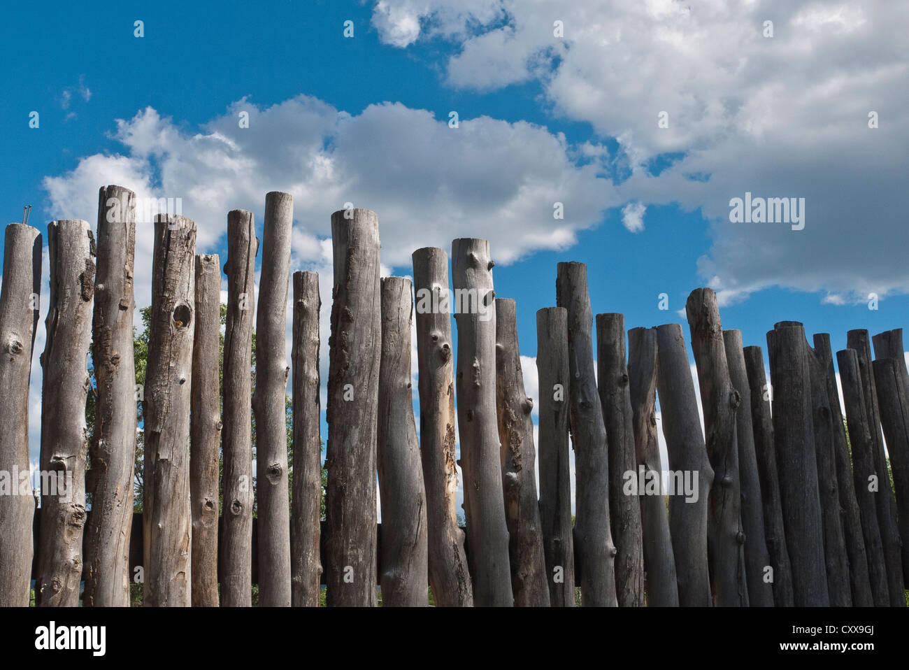 Traditional primitive wood fence made of tree branches, Santa Fe, New Mexico, USA. - Stock Image