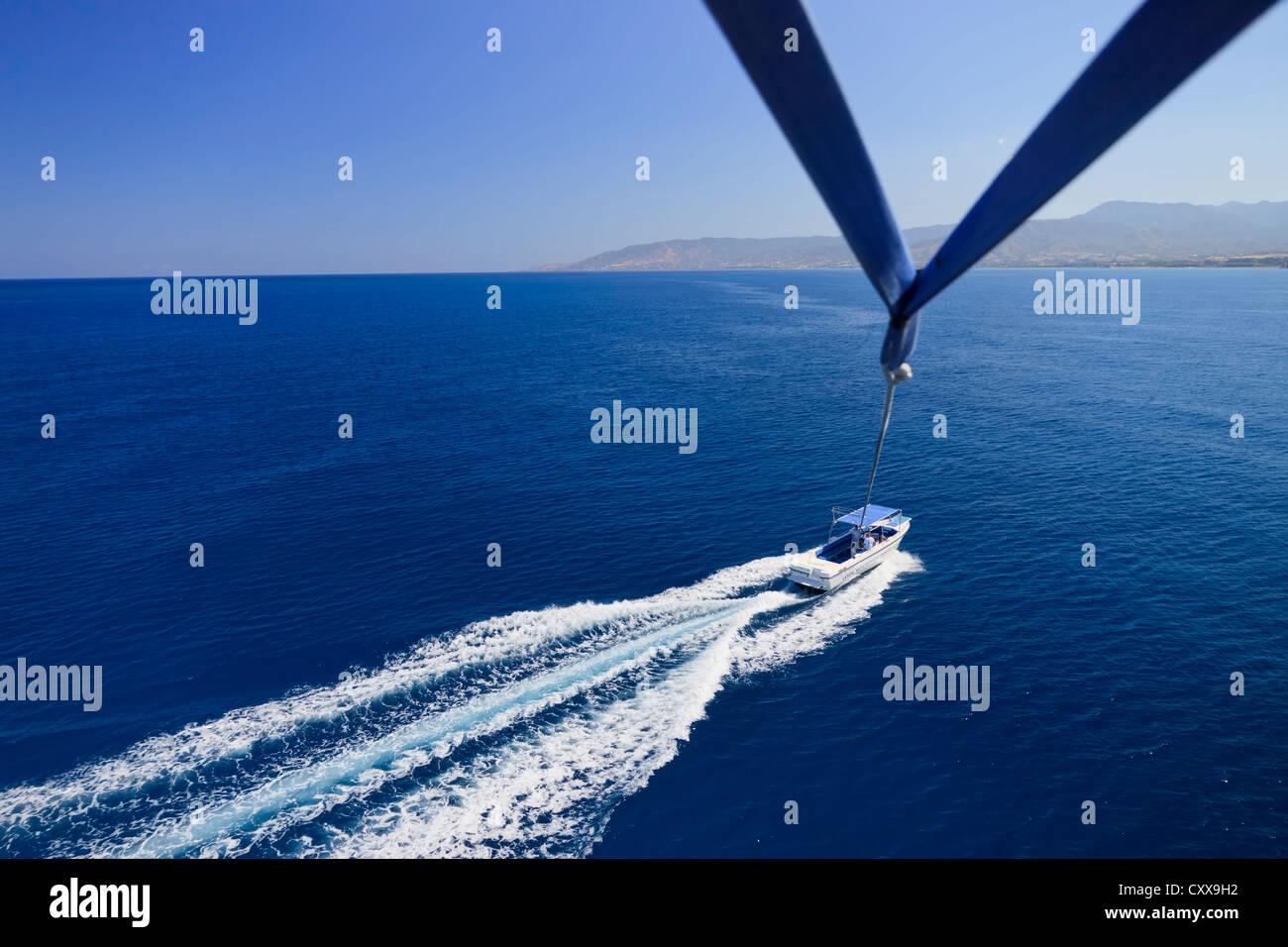 Parasailing at Latchi, Paphos area, Cyprus Stock Photo