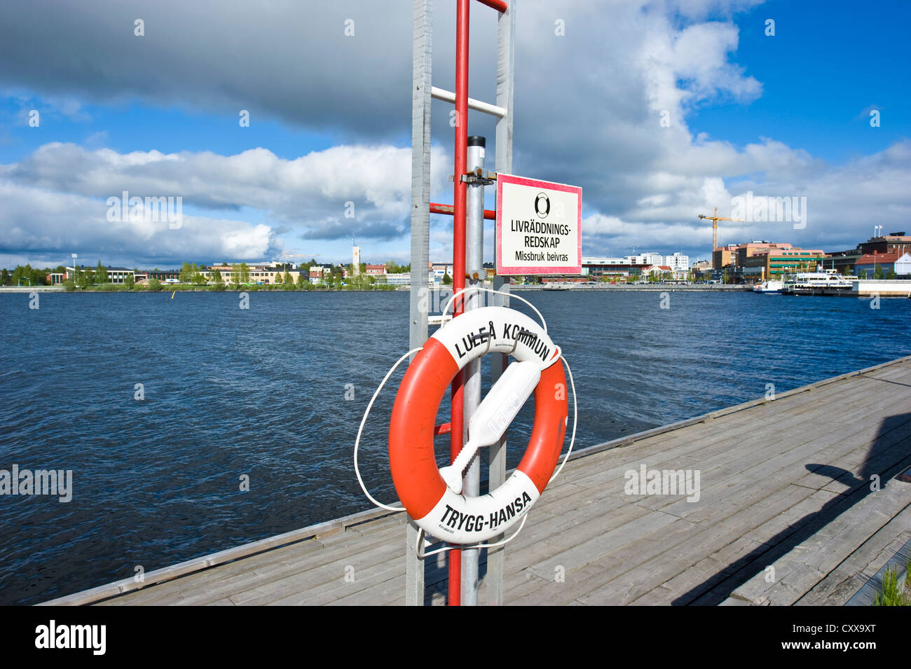A lifebuoy by the Gulf of Bothnia in Luleå, Norrbotten County, Sweden. - Stock Image