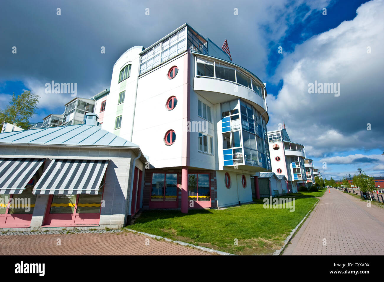 A modern house by the Gulf of Bothnia in Luleå, Norrbotten County, Sweden. - Stock Image