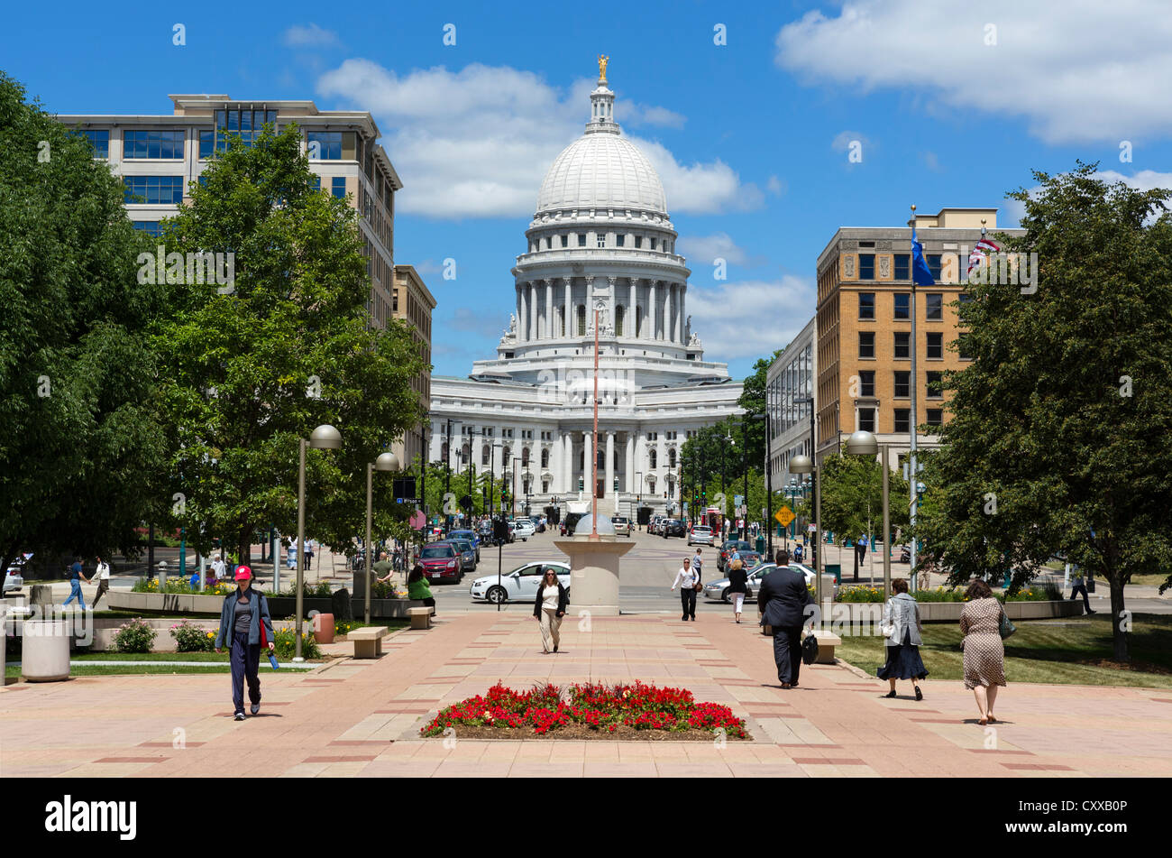 View from Monona Terrace down Martin Luther King Junior Boulevard to the Wisconsin State Capitol, Madison, Wisconsin, - Stock Image