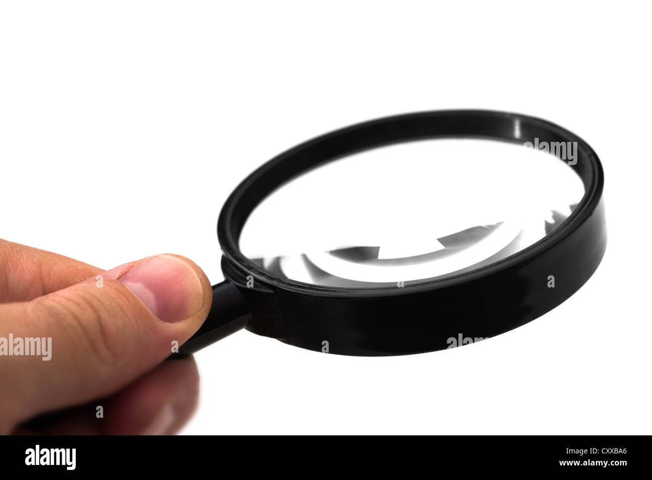 Magnifying glass cut out over white. - Stock Image