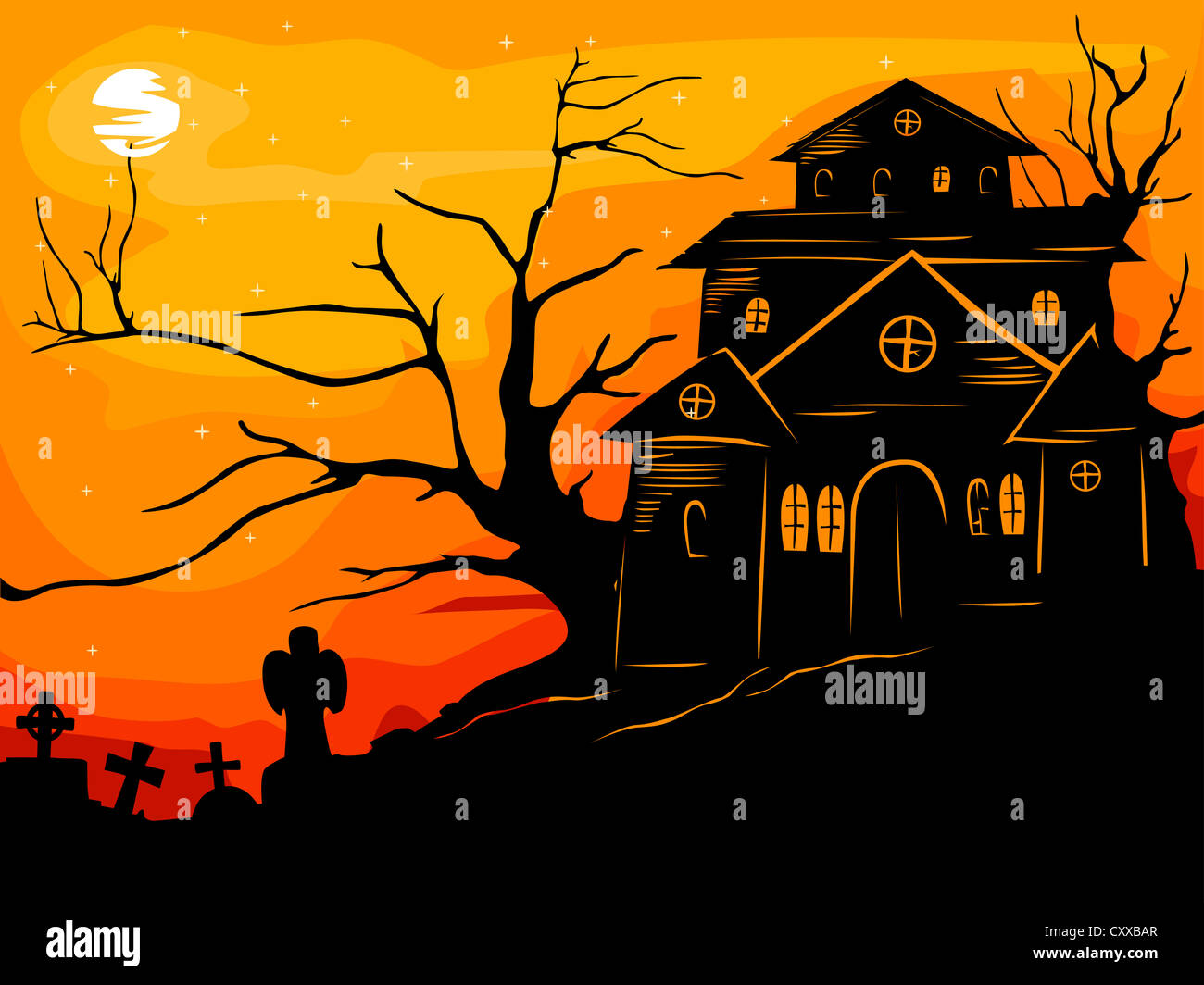Halloween Illustration Featuring The Silhouette Of A Haunted House Framed By Reddish Orange Sunset