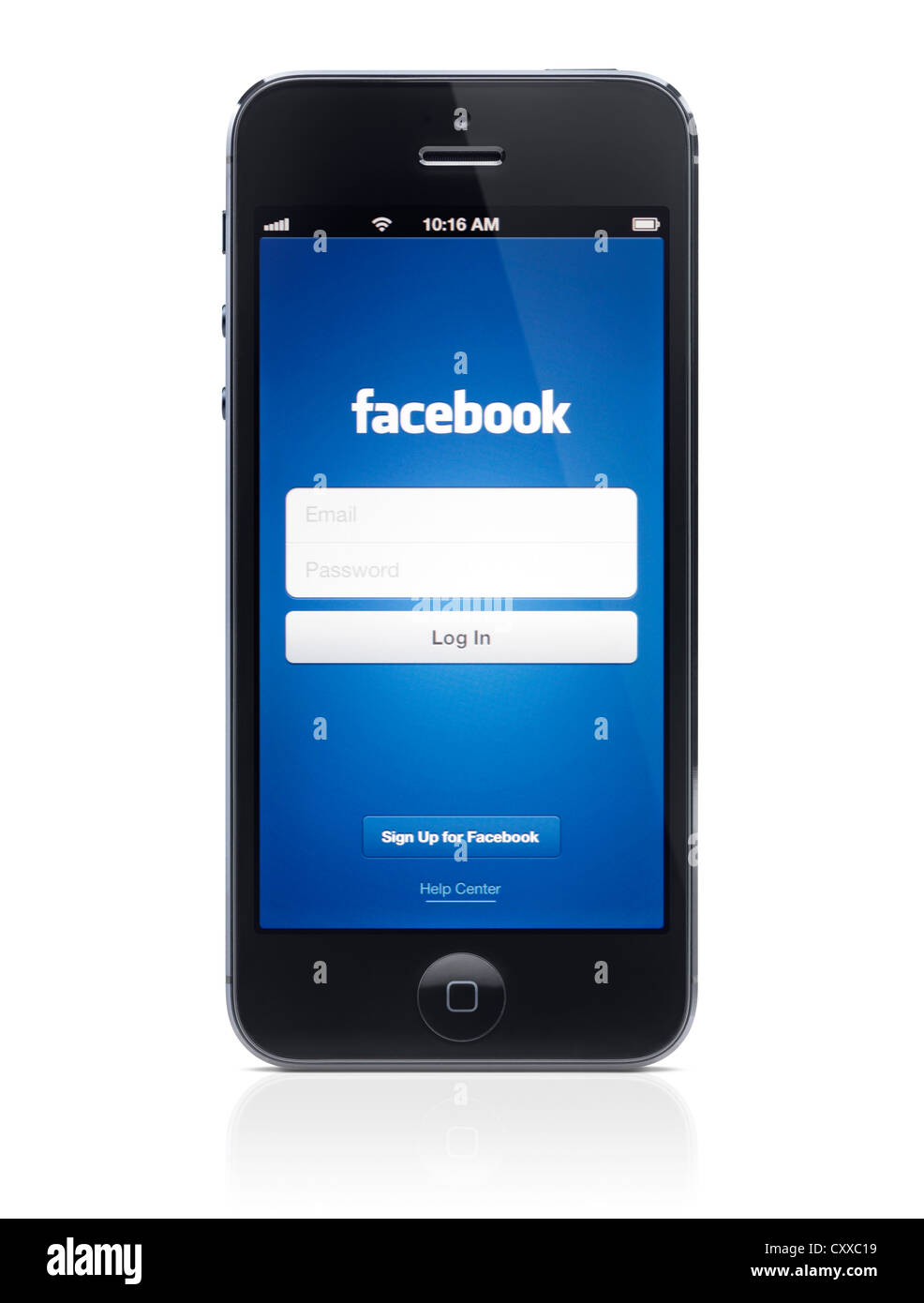 facebook mobile login iphone app welcome screen on display of apple iphone 5 14064