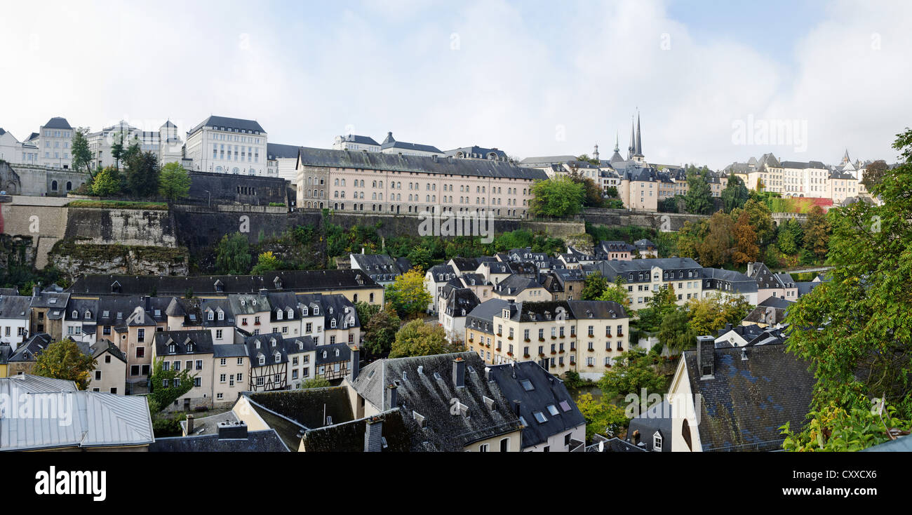 Ville Haute and Grund, Luxembourg City - Stock Image