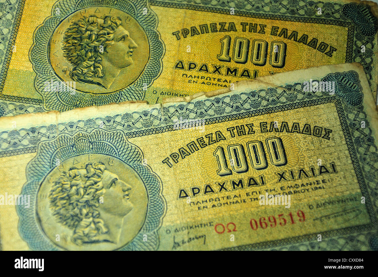 1000 Drachma Greek banknotes, 1941 - Stock Image