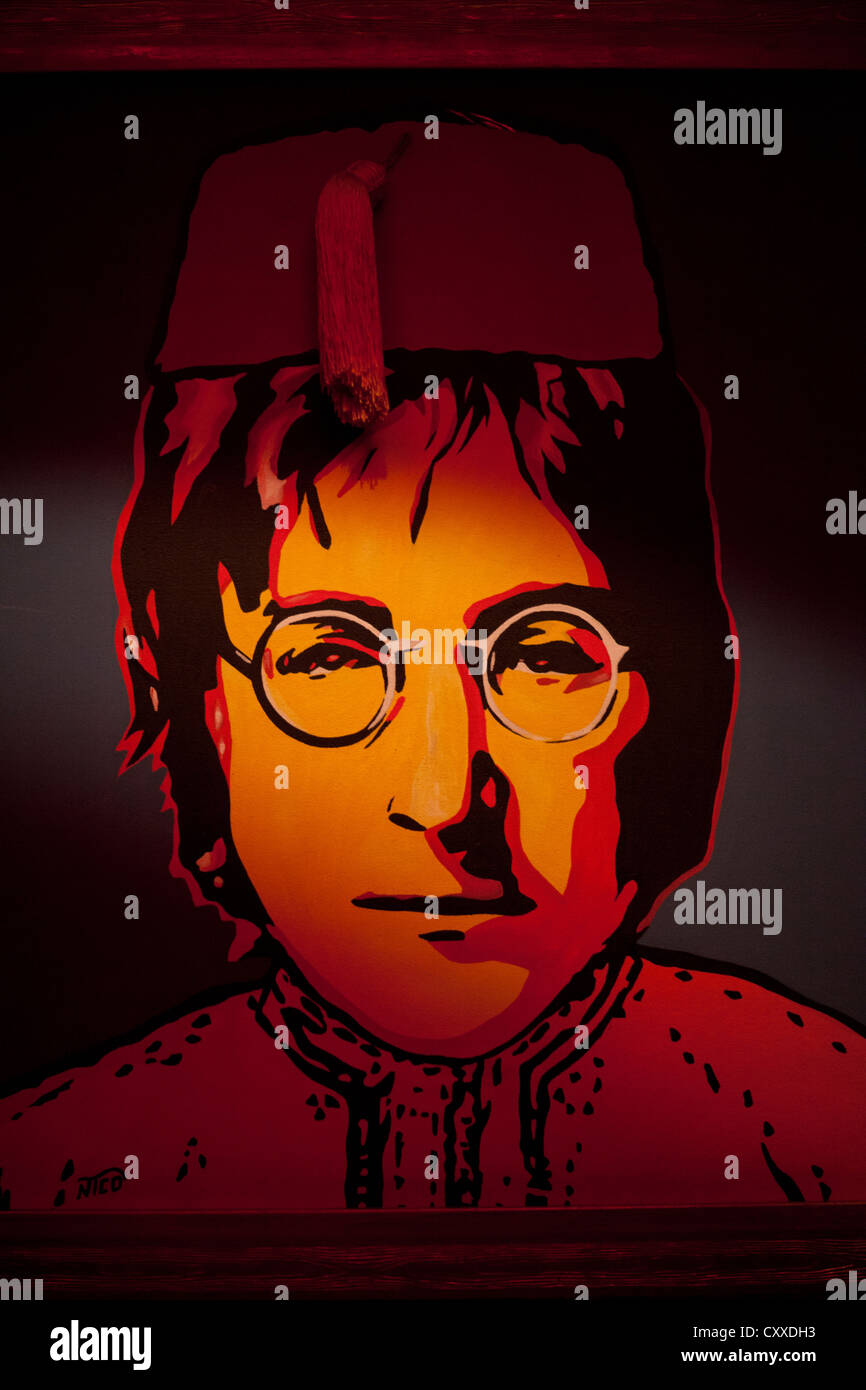 Painting of John Lennon in a Fez Djellabar Marrakesh  Morocco - Stock Image