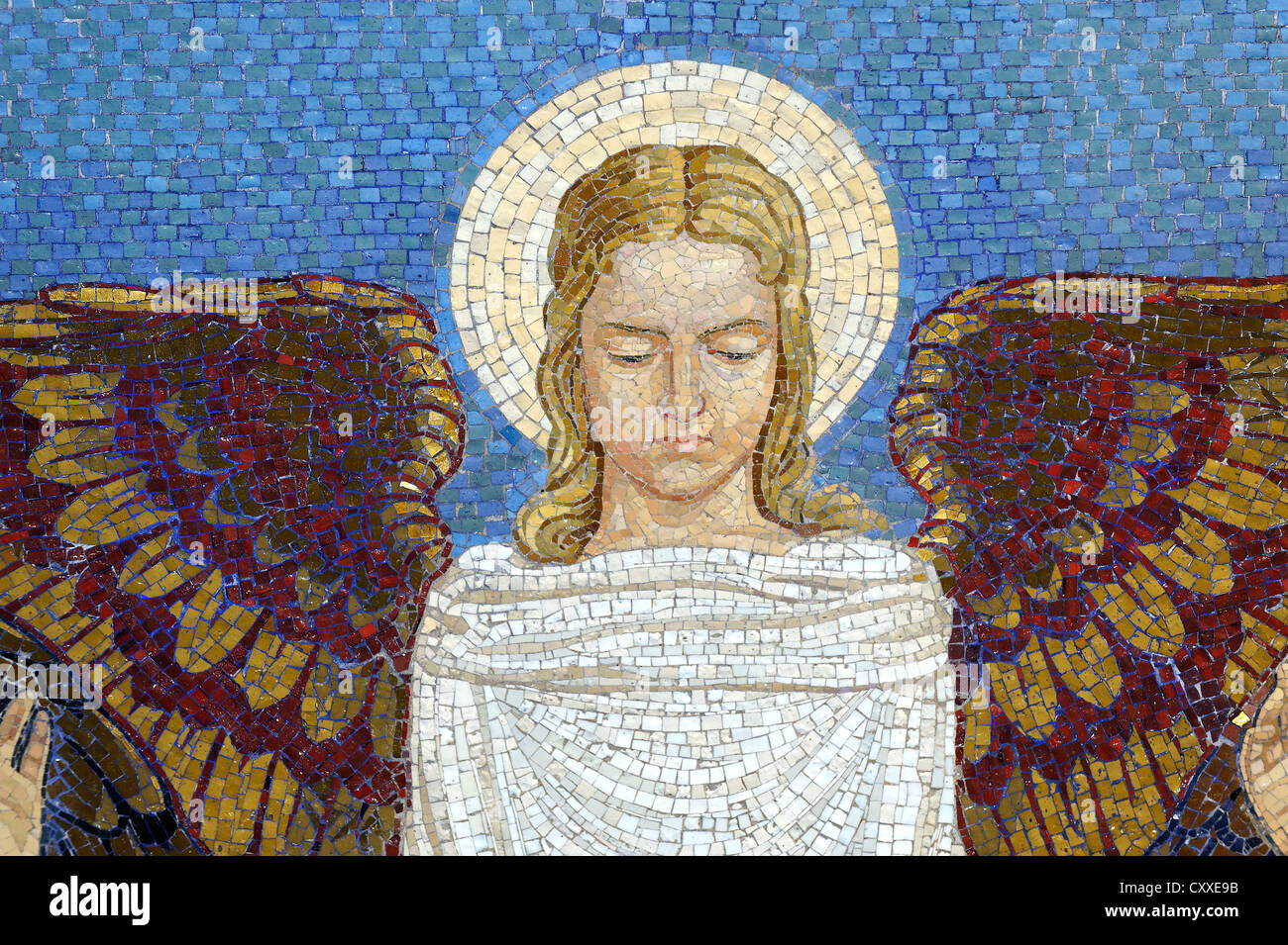 Angel, wall mosaic at the Church of the Transfiguration, Mount Tabor, Galilee, Israel, Middle East - Stock Image