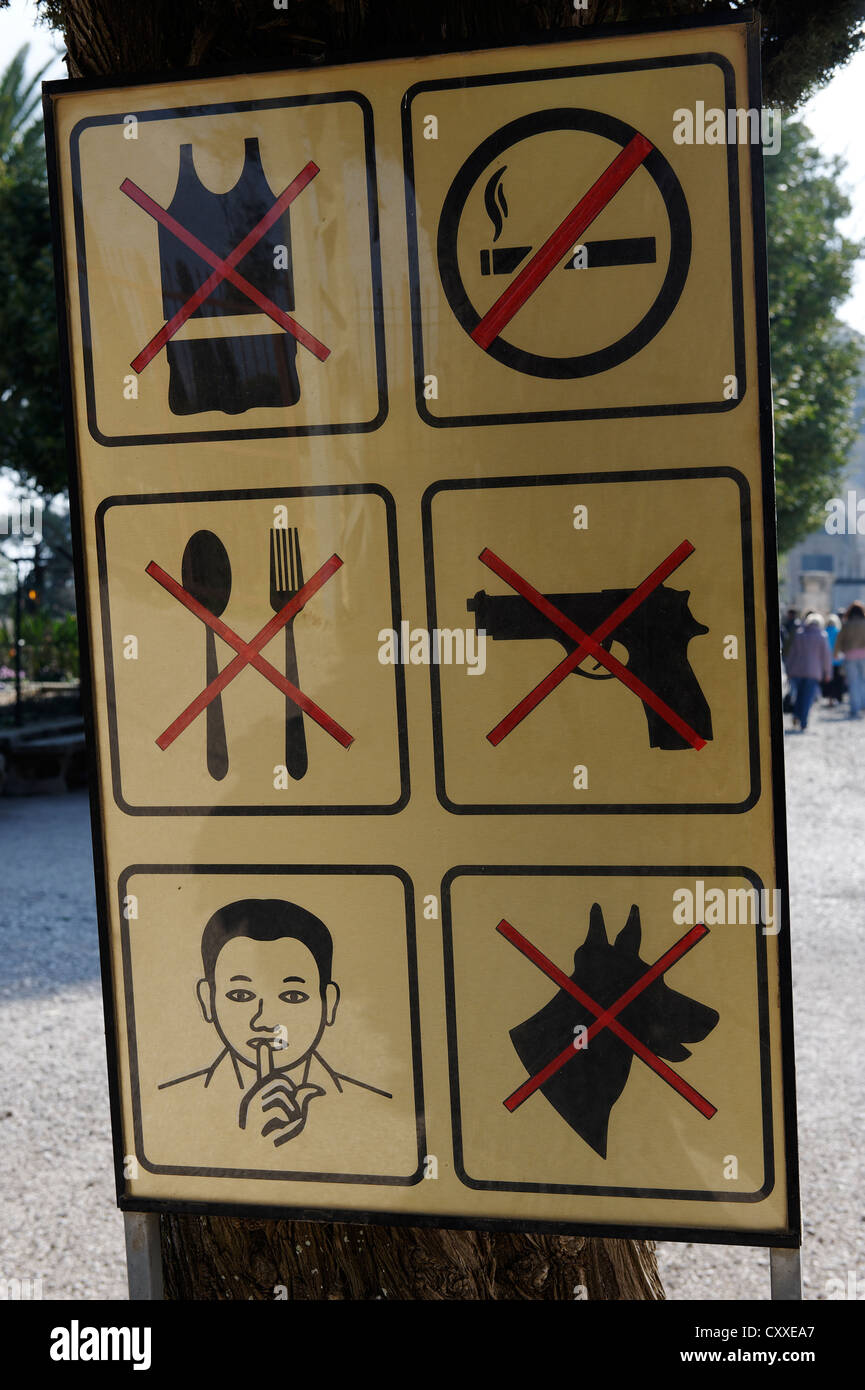 Warning signs, pictograms, Mount Tabor, Galilee, Israel, Middle East - Stock Image