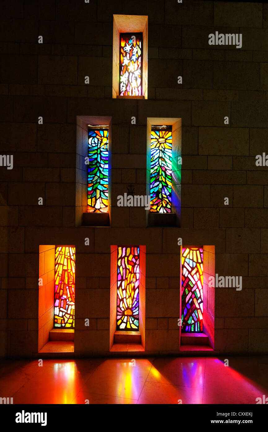 Stained glass windows, Basilica of Annunciation, Nazareth, Nazaret Galilee, Israel, Middle East - Stock Image