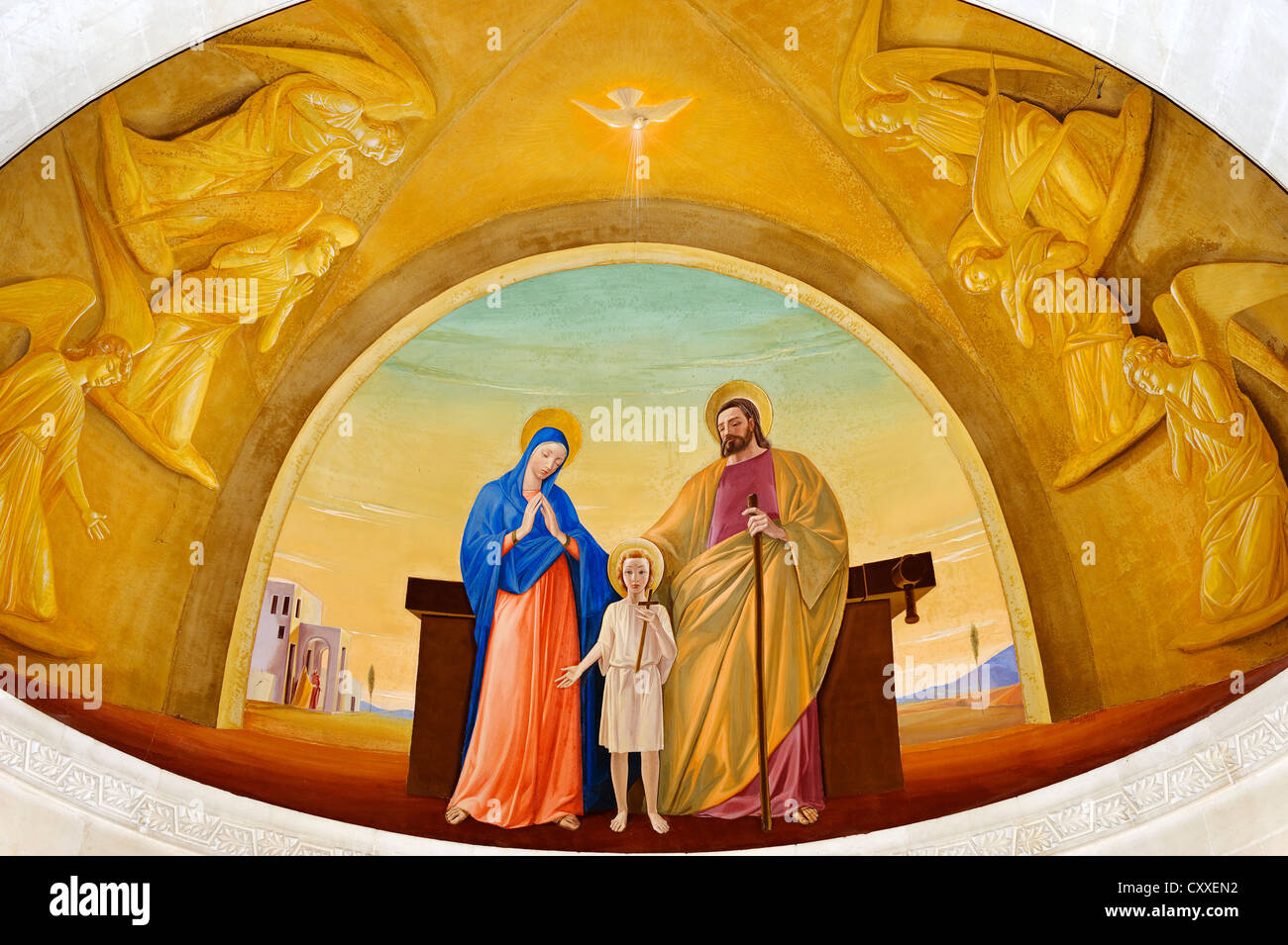 Mary, Joseph and Baby Jesus, fresco above the high altar in St. Joseph's Church, Nazareth, Galilee, Israel, Middle Stock Photo
