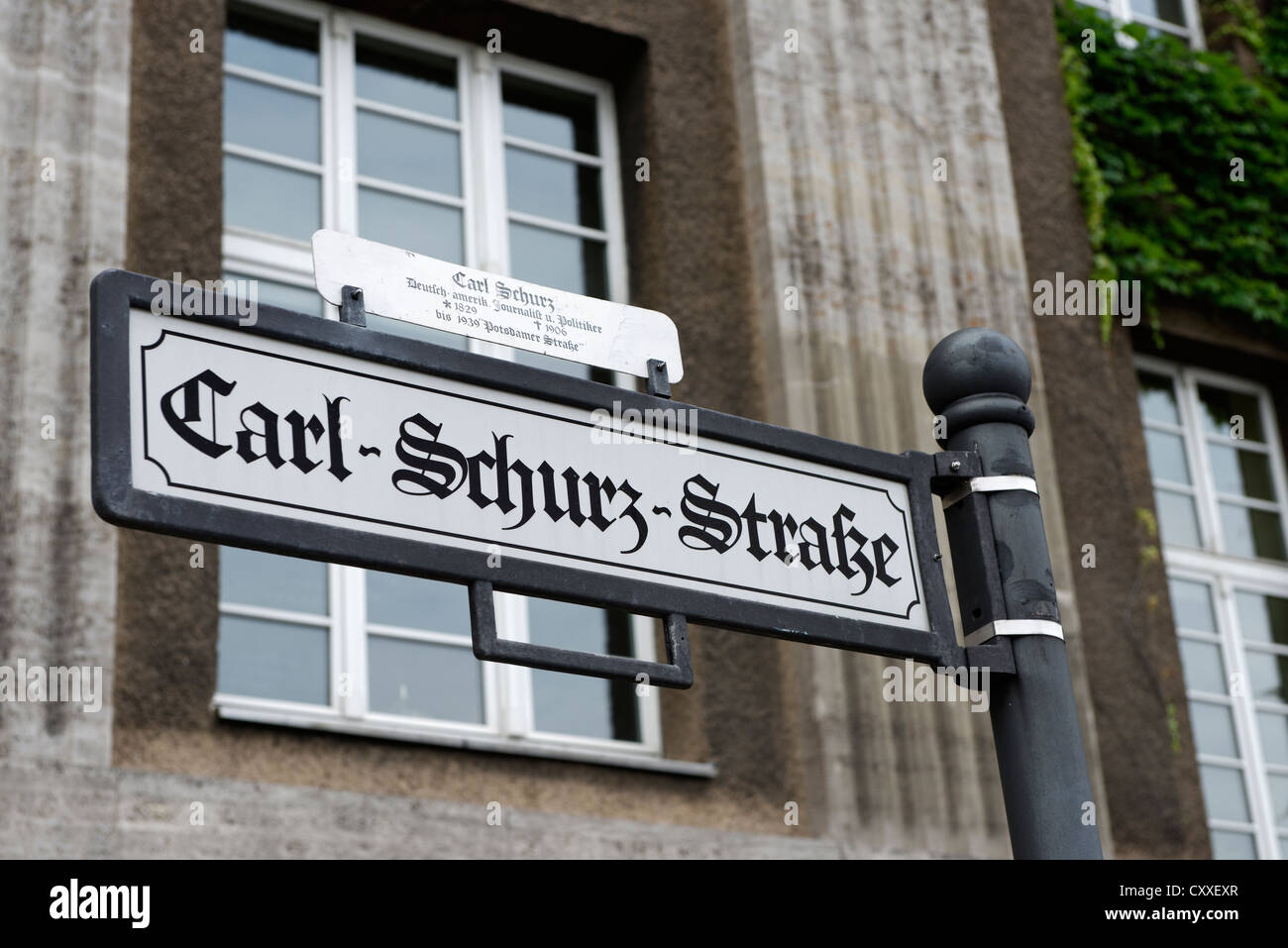 Street named after Carl Schurz, 1829 - 1906, a German politician and revolutionist, American general, statesman - Stock Image
