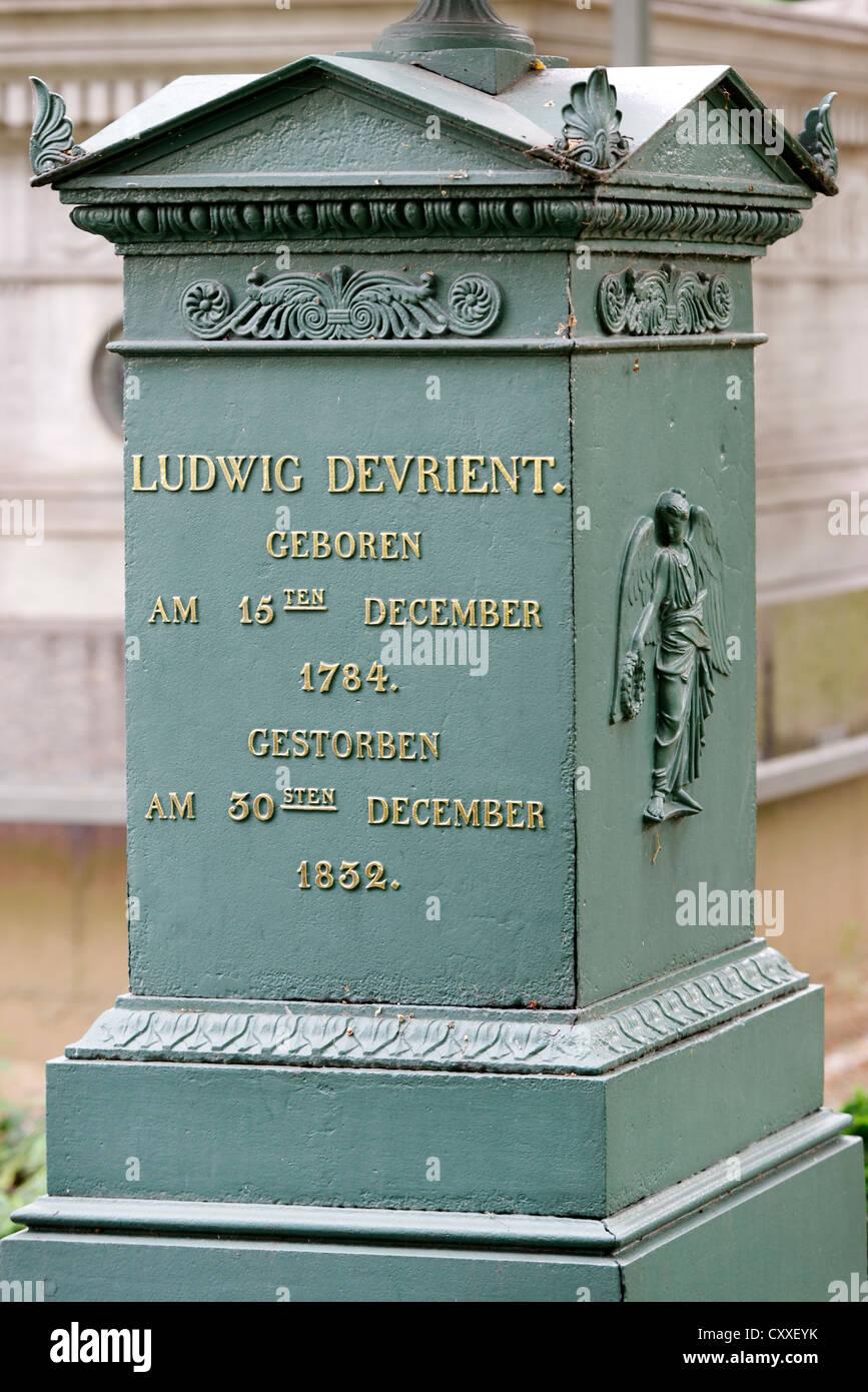 Tomb Ludwig Devrient, 1784 - 1832, a German actor, Dorotheenstadt cemetery, Berlin - Stock Image