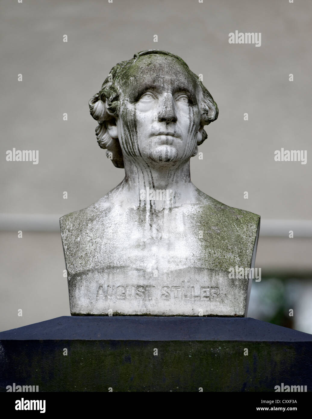 Bust, tomb of Fr. A. Stueler, 1800 - 1865, a German architect, Dorotheenstadt cemetery, Berlin - Stock Image