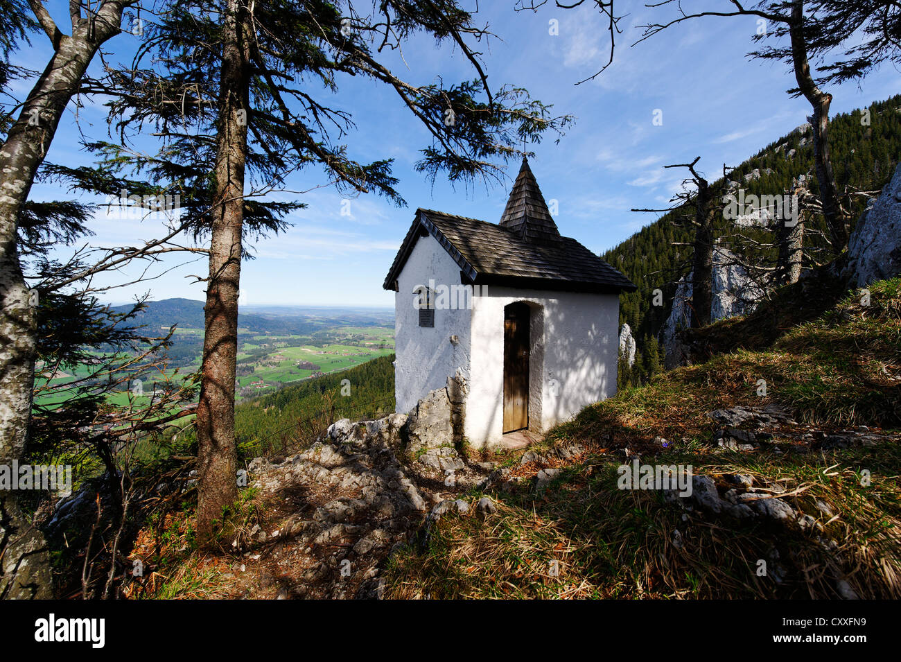 Chapel on Kesselalm alp, Breitenstein mountain, near Fischbachau, Leitzachtal valley, Upper Bavaria, Bavaria - Stock Image
