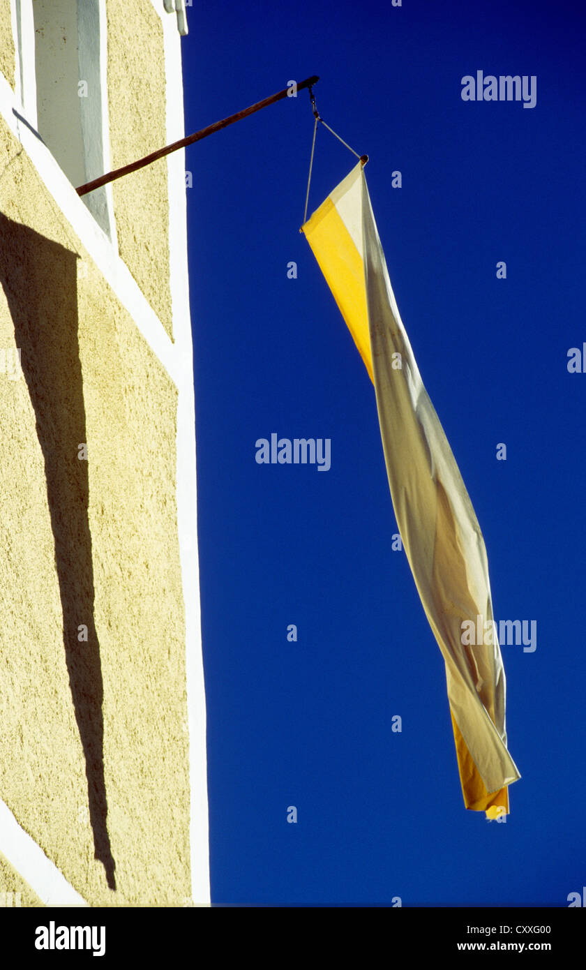 Flag for the 'Zachaeus' church anniversary, daughter church Saint Peter and Paul, Greimharting, Rimsting, - Stock Image