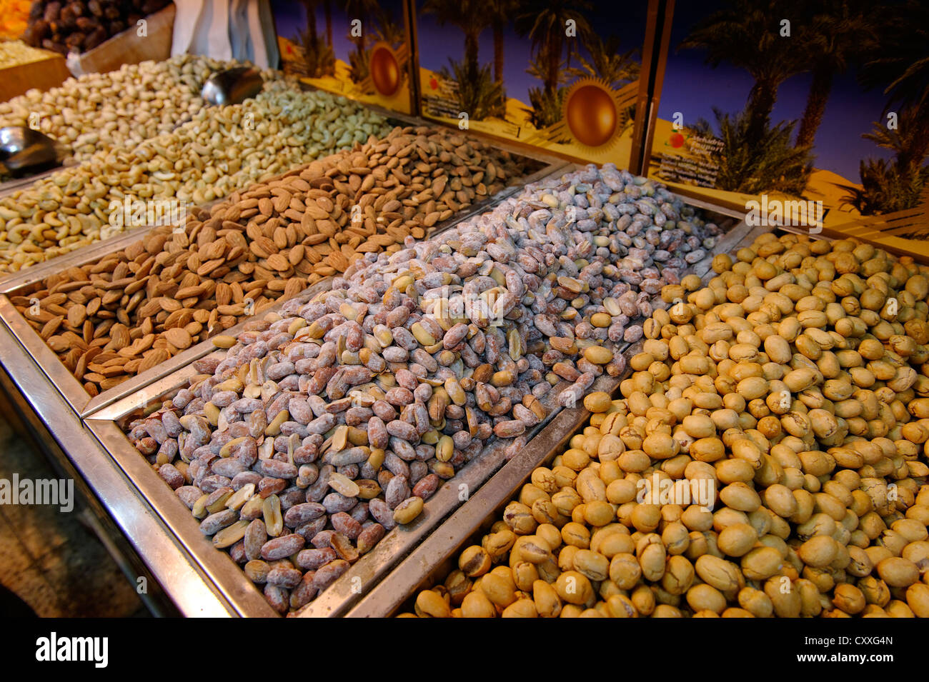 Nuts at the bazaar, souk, Jerusalem, Israel, Middle East - Stock Image