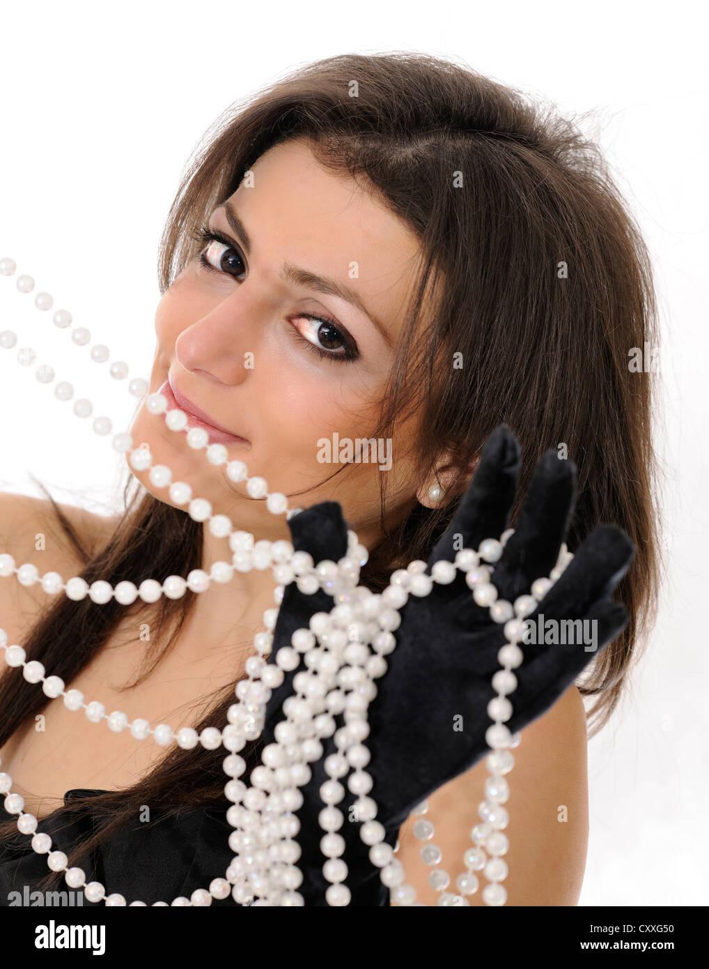 327ac8e82ba Young woman in a black dress