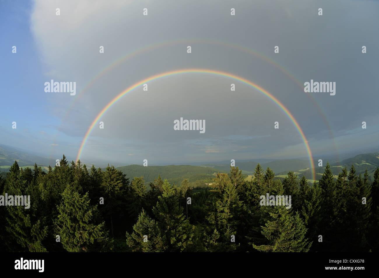 Double rainbow, view eastwards, Hutwisch viewpoint, Lower Austria, Austria, Europe - Stock Image