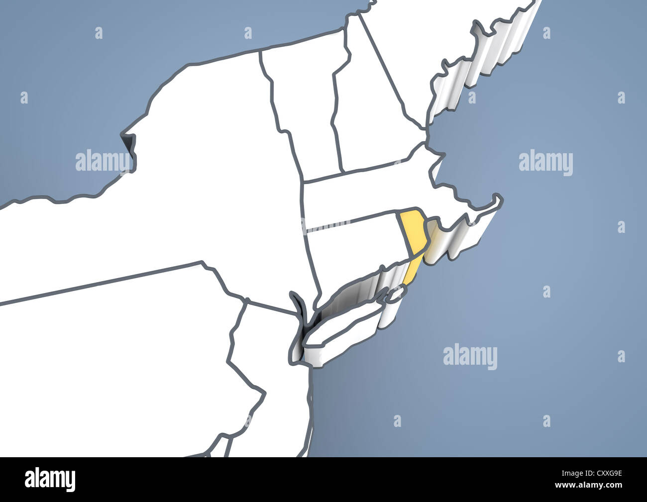 Map of Rhode Island, USA, United States of America, contour, 3D ...