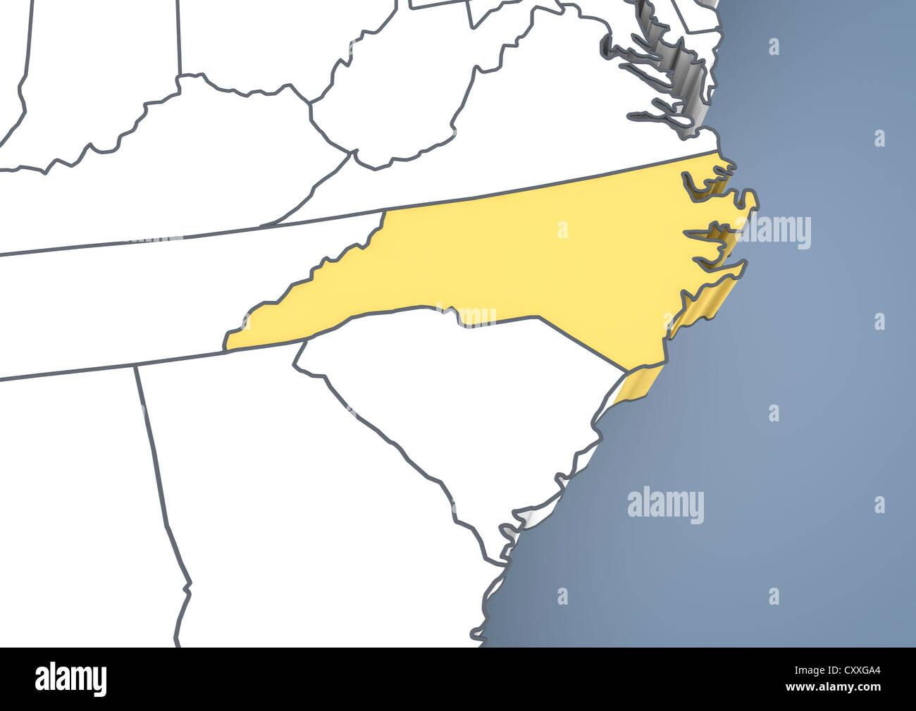 United States Map North Carolina.Map Of North Carolina Nc Usa United States Of America Contour