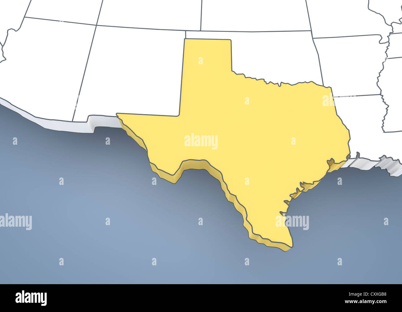 3d Map Of Texas.Map Of Texas Tx Usa United States Of America Contour 3d Stock