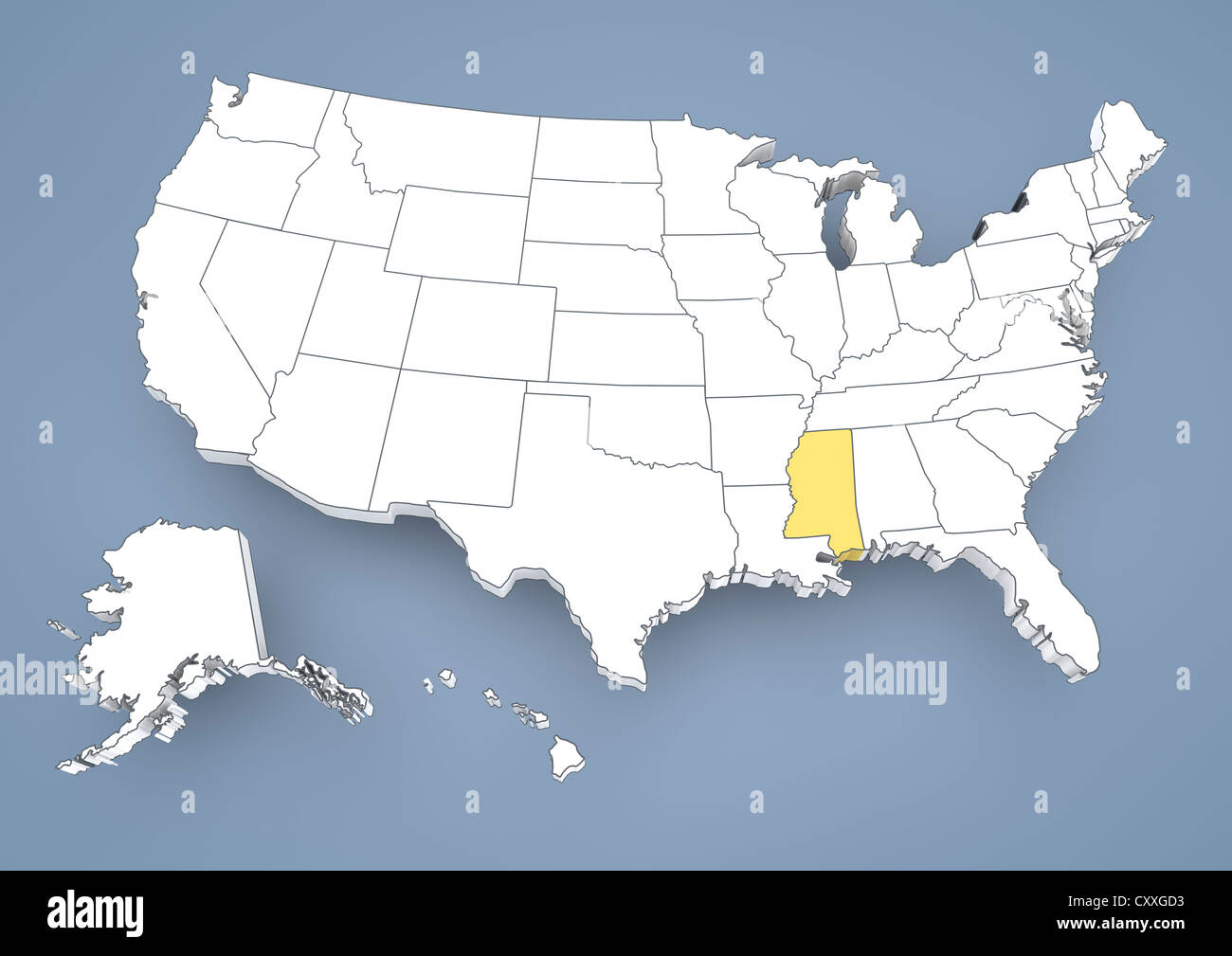 Mississippi Ms Highlighted On A Contour Map Of Usa United States - Us-map-ms