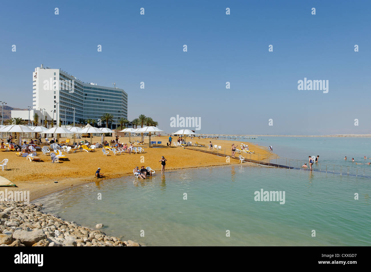 Beach, Ein Bokek, En Boqeq, Dead Sea, Israel, Middle East - Stock Image