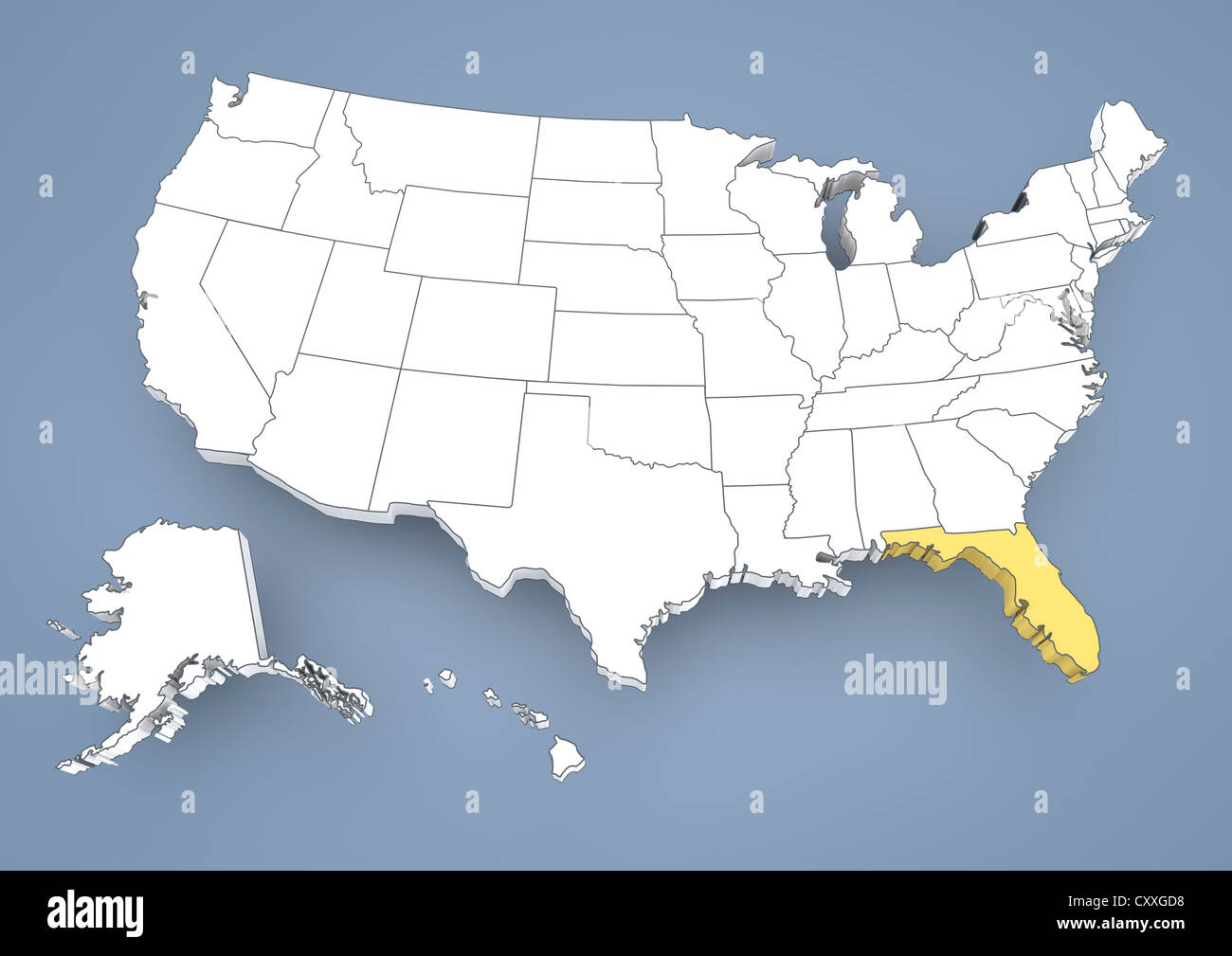 America Map Florida.Florida Fl Highlighted On A Contour Map Of Usa United States Of