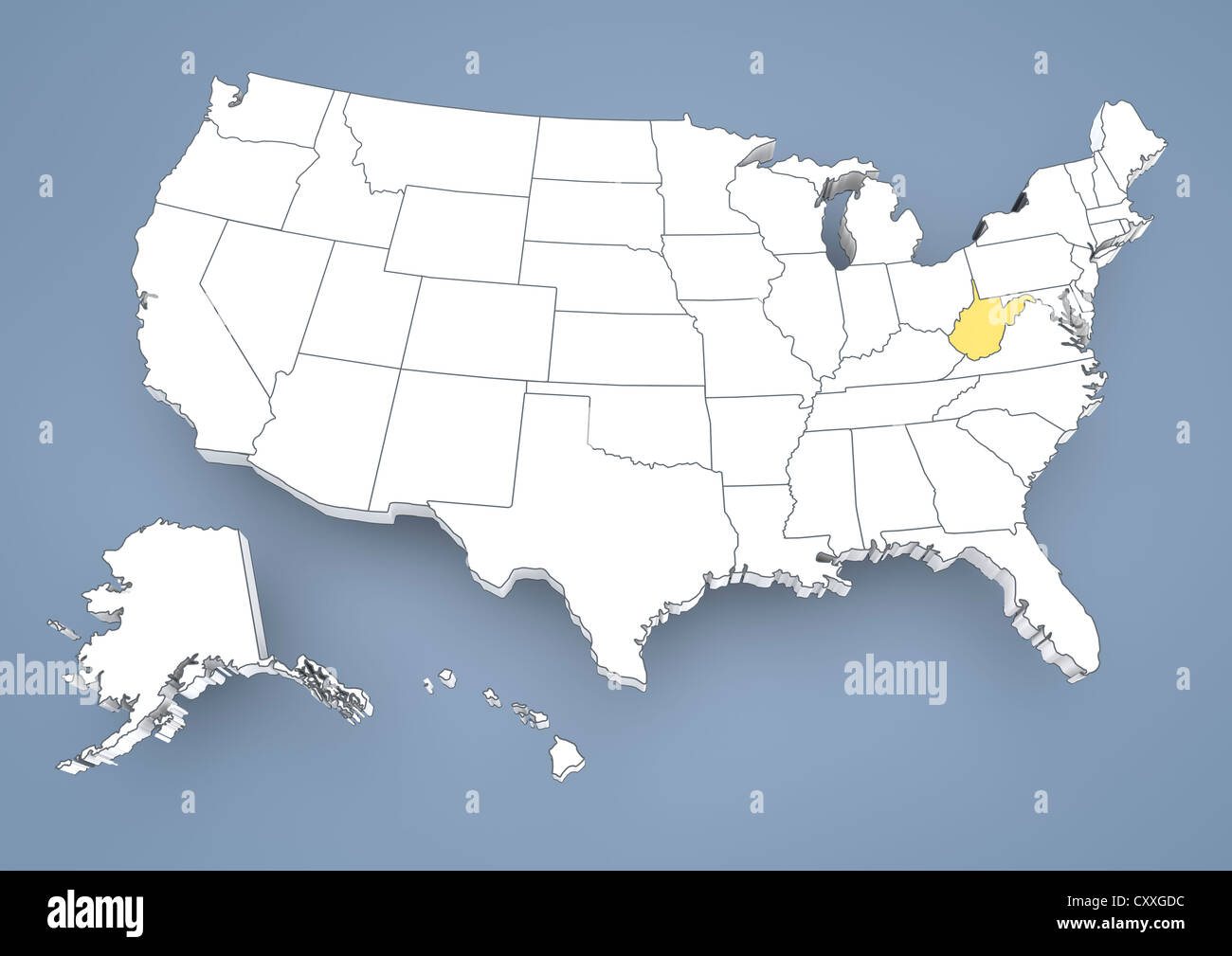 West Virginia, WV, highlighted on a contour map of USA, United ...