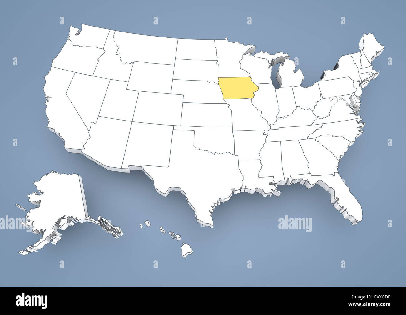 Iowa IA highlighted on a contour map of USA United States of