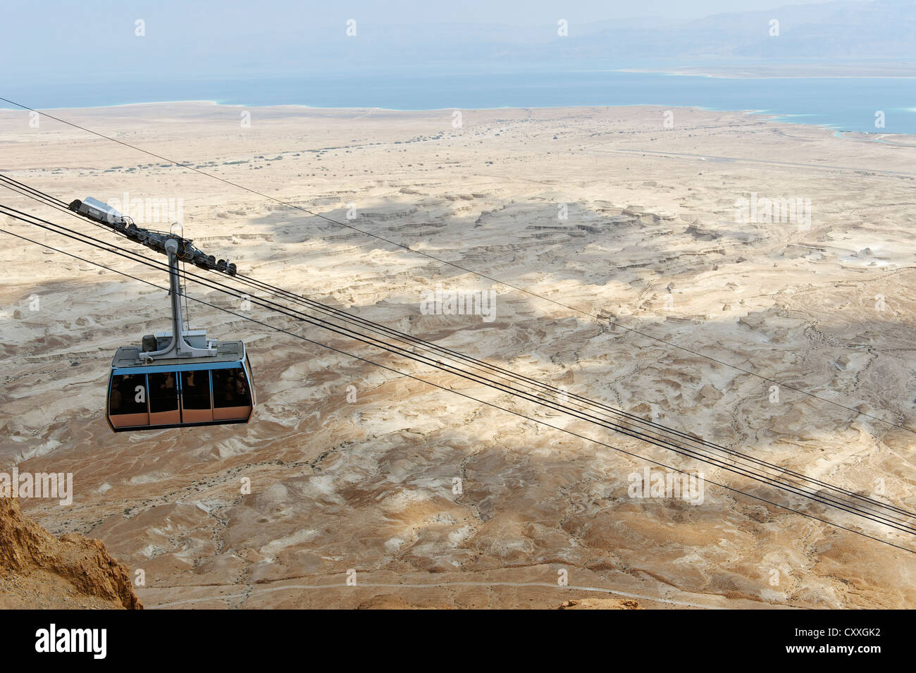 Gondola, cable car, Masada cableway to Jewish excavations at the Masada Fortress, UNESCO World Heritage Site, West - Stock Image