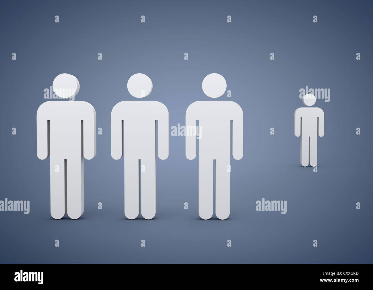 A Group Of Men One Man Standing Apart Symbolic Image For Bullying