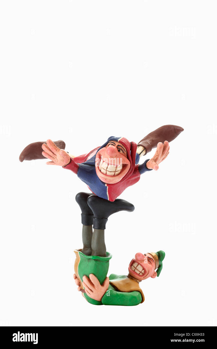 Fools or jesters, cartoon characters - Stock Image