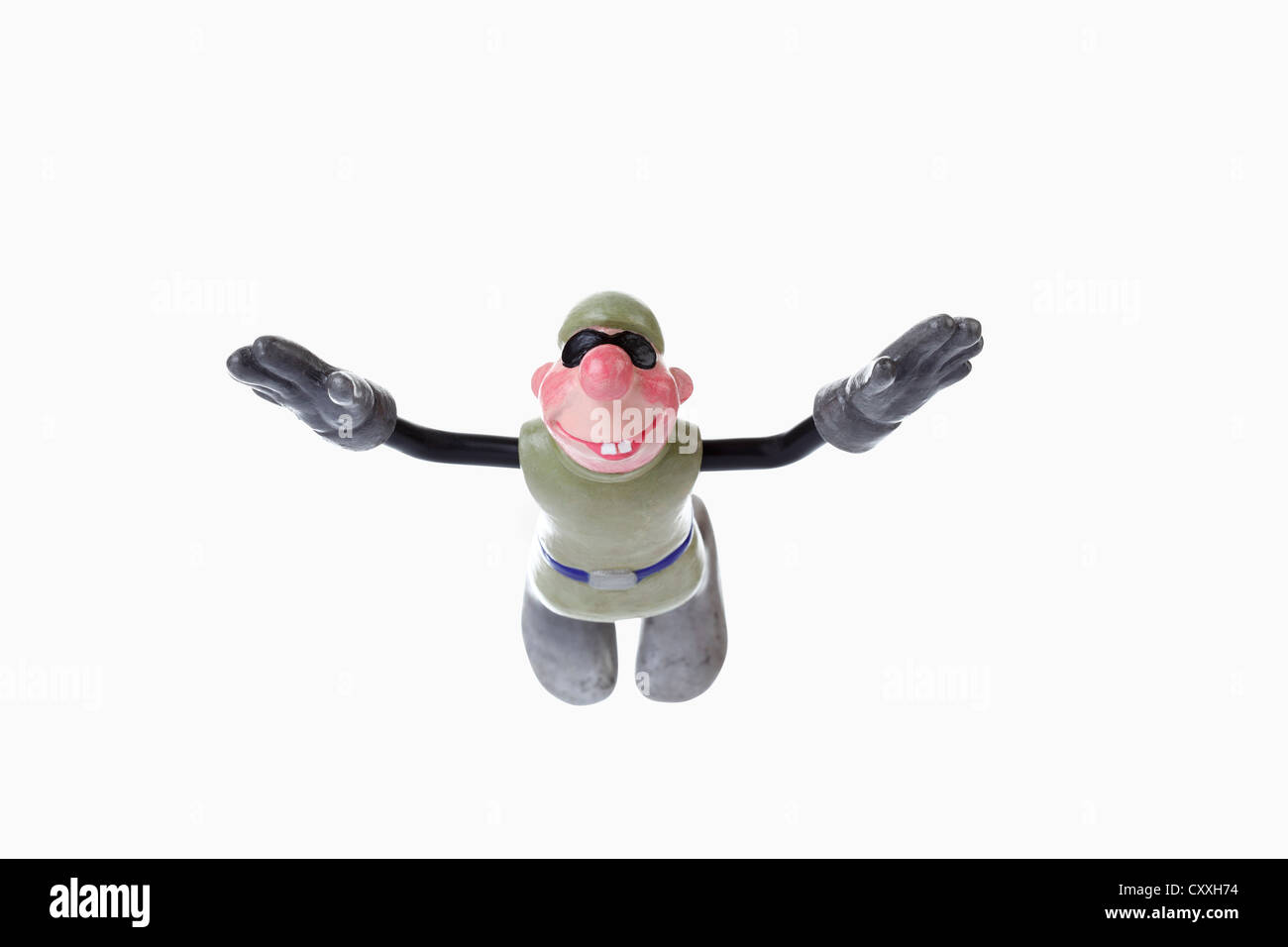 Cartoon character, basejumper in updraft - Stock Image