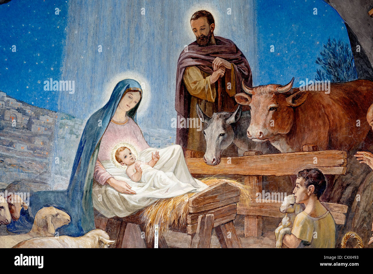 Birth of Jesus, fresco, Der es-Siar Chapel, Shepherds' Fields, religious place of the Night Watch, Beit Sahour - Stock Image