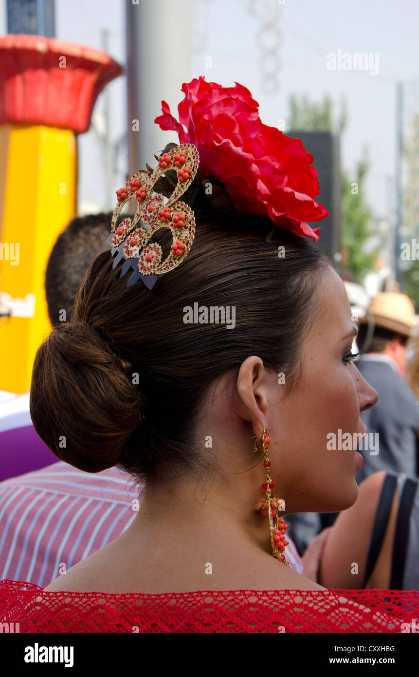 Beautiful Girl In Flamenco Dress With Head Decoration During Annual Stock Photo Alamy