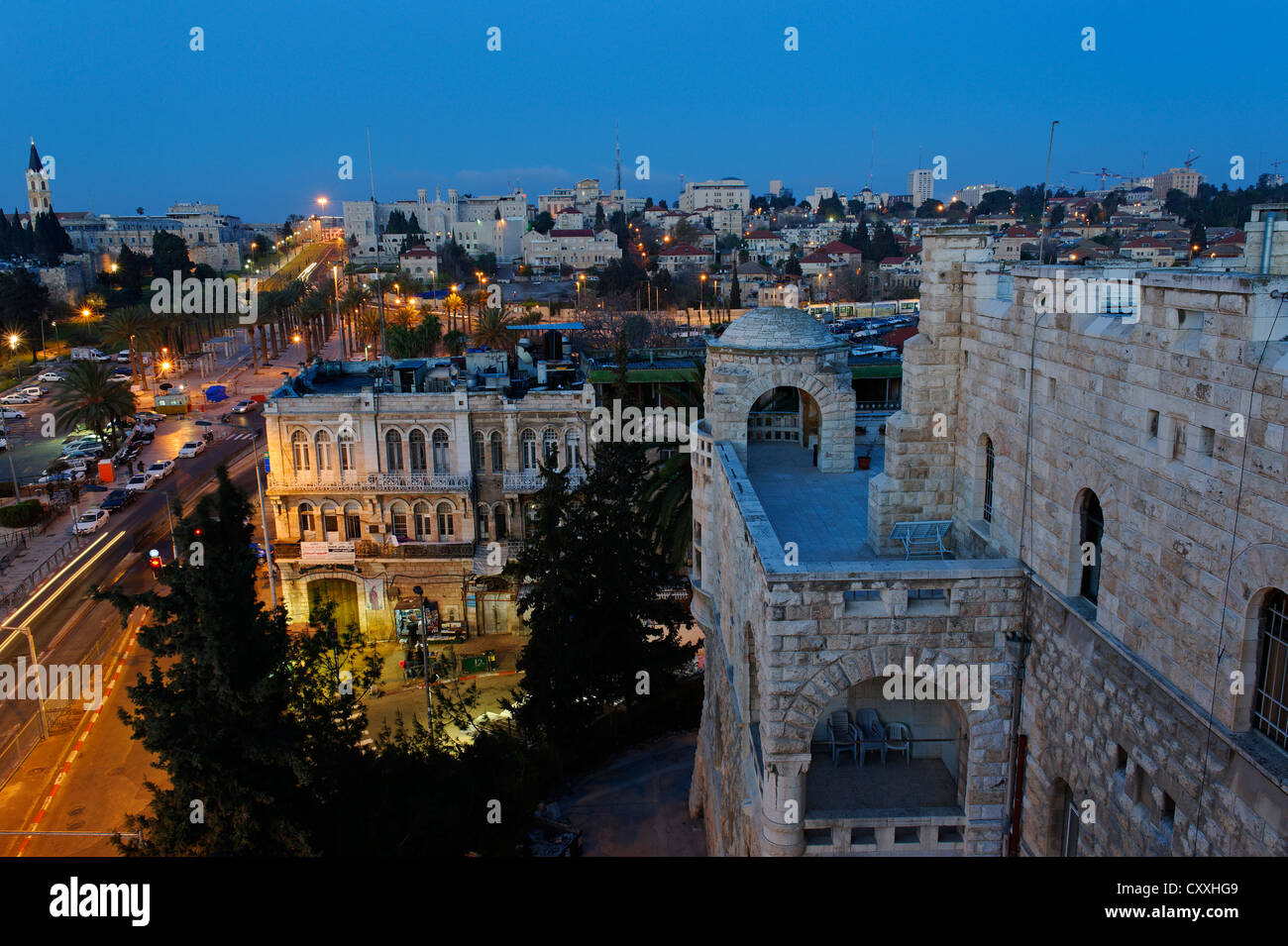 Dusk, Old City, from Paulus guest house, Jerusalem, Israel, Middle East Stock Photo