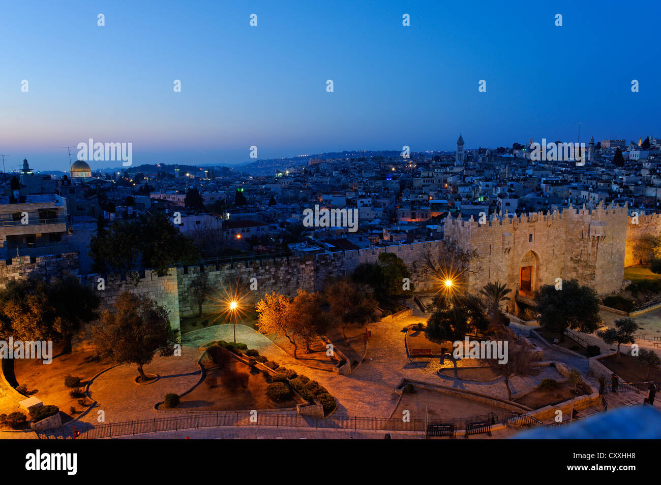 Damascus Gate with city walls, dusk, Old City, Jerusalem, from Paulus guest house, Israel, Middle East Stock Photo