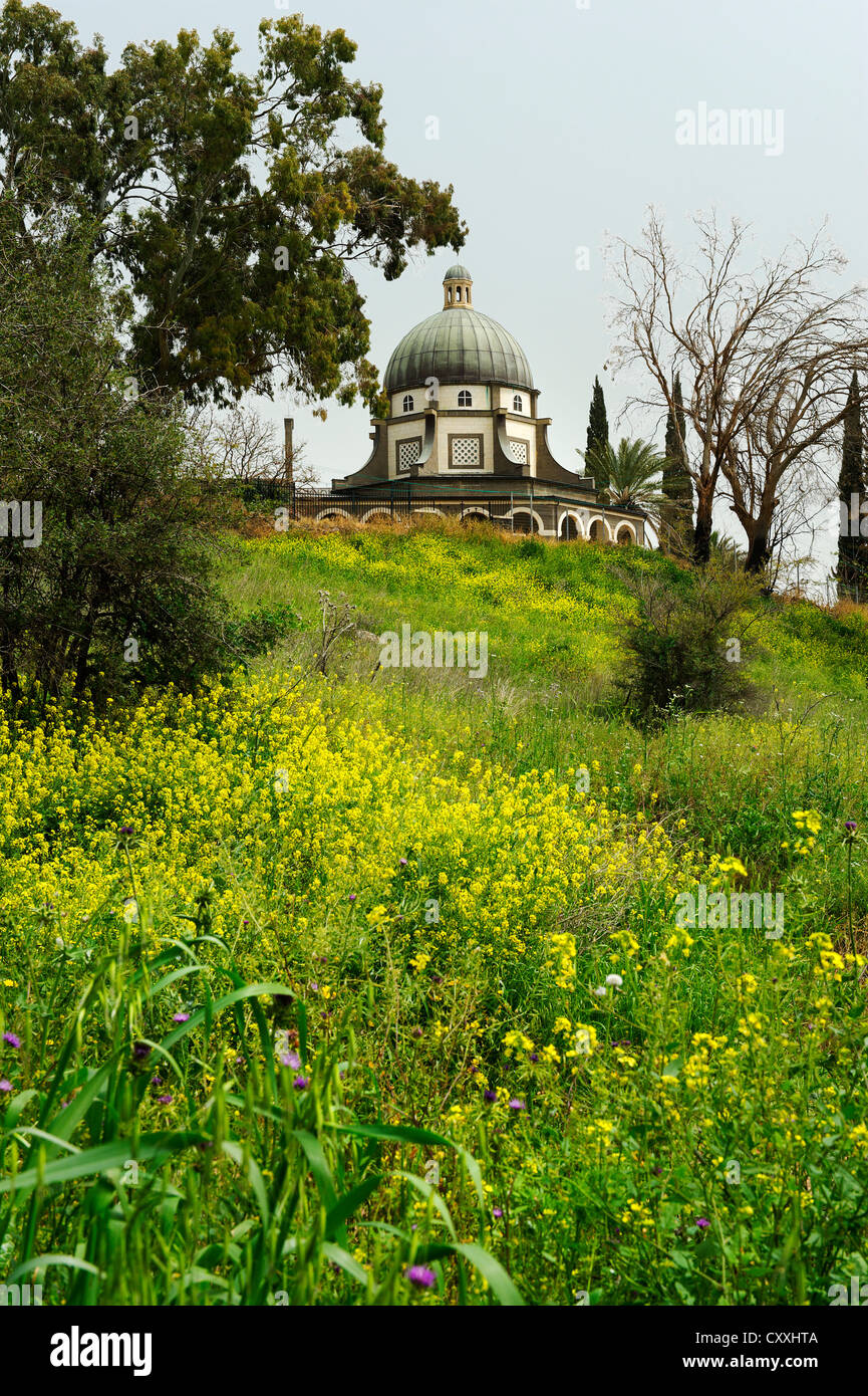 Mount of the Beatitudes, Church of the Beatitudes at Tabgha, Sermon on the Mount, at the Sea of Galilee Stock Photo
