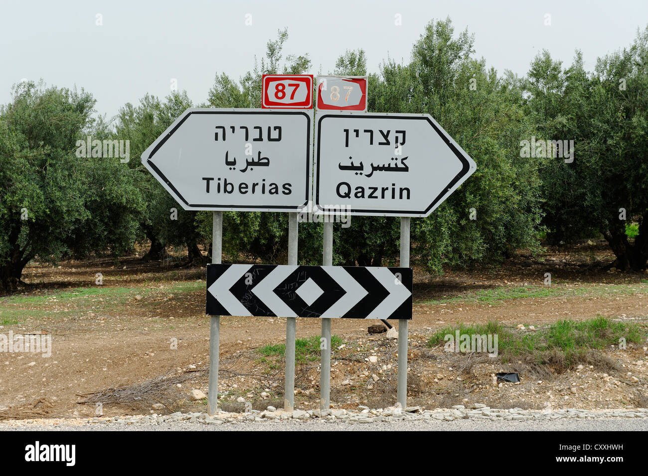 Sign post in three languages, Arabic, Hebrew and Latin, Tabgha at the Sea of Galilee, Lake of Gennesaret Yam Kinneret Stock Photo